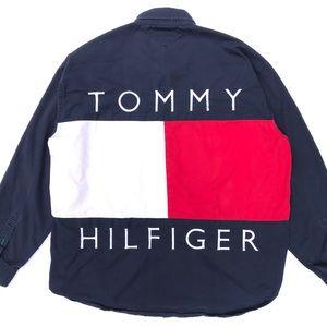 RARE TOMMY HILFIGER Vintage 90s Big Flag Shirt